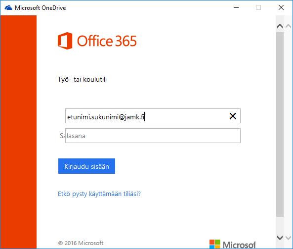 OneDrive -käyttöönotto JAMKin Windows -työasemissa ... Onedrive Login